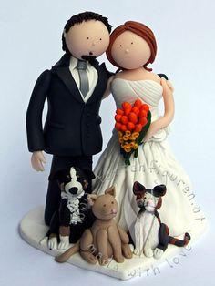 Brautpaar mit Hund & Katzen von www.tortenfiguren.at - Weddingcaketopper