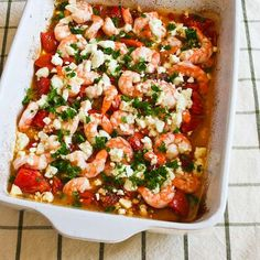 This Easy Roasted Tomatoes and Shrimp with Feta, Oregano, and Fennel is amazing for a special dinner. [from KalynsKitchen.com] #LowCarb #GlutenFree #Shrimp