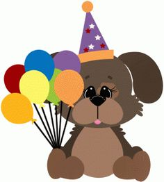 Silhouette Design Store - View Design dog w party balloons & hat Birthday Clips, Birthday Wishes, Homemade Birthday Cards, Homemade Cards, Balloon Hat, Balloons, Paw Print Crafts, Puppy Birthday, Birthday Cake