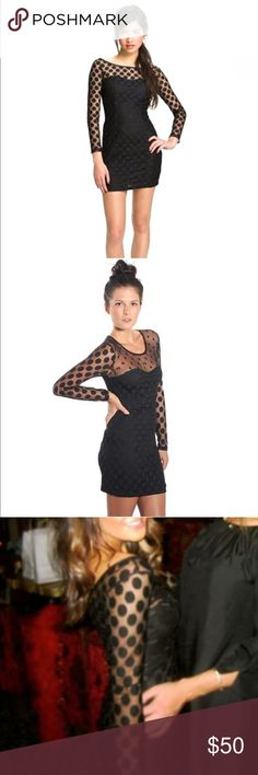 Polka dot sheer dress Elegant cute polka dot long sleeve dress Trixxi Dresses Mini