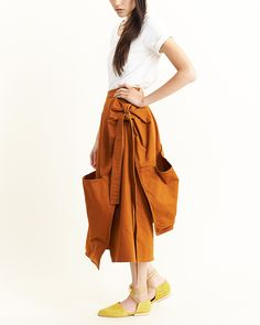 Nutie Knot Pocket Skirt in Rust By Perks and Mini