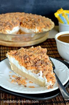 Peanut Butter Butterfinger Pie - peanut butter cheesecake topped with crushed Butterfinger pieces all in a baked Pillsbury pie crust http://www.insidebrucrewlife.com