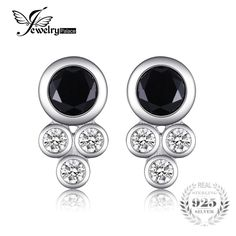 JewelryPalace New Simple 1.5ct Round Created Black Spinel Bezel Setting Stud Earrings 100% Real 925 Sterling Silver Fine Jewelry