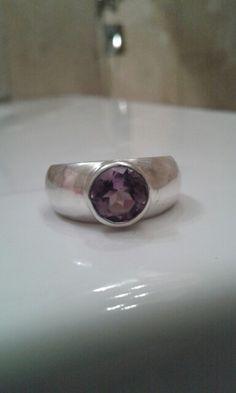 Amethyst in sterling silver ring