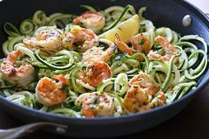Shrimp with lemon, lemon zest and garlic over zucchini noodles – this dish is EASY low-carb, gluten-free, paleo-friendly, very satisfying and took less than 20 minutes to make, start to finish and it was DELICIOUS!  2014 was certainly the year for the zoodles (zucchini noodles)! Ever since buying my FAVORITE cooking gadget, the Paderno Spiral Vegetable Slicer I was hooked! I've been swapping pasta for zucchini noodles ever since. It's the easiest way to make zucchini noodles, cucumber…