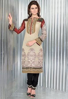 Fawn art silk traditional print, thread embroidered and patch bordered kameez with contrasting black cambric bottom fabric and shot tone faux chiffon dupatta fabric. The unstitched kameez can be customized from 36 to 42 inches. (Slight variation in color and patch border is possible. ) data-pin-do=