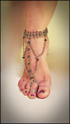 chainmail slave anklet; worldinchainsmaille @ Etsy