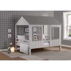 Zoomie Kids Madrid Full House Platform Loft Bed Zoomie Kids Schloss Full House Low Loft in Grey Two Twin Canopy Bed, Twin Bunk Beds, Kid Beds, Cool Kids Beds, House Beds For Kids, Low Loft Beds For Kids, Full House, Kids Bedroom, Bedroom Decor