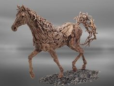 Pferd Skulptur-lebensgröße Treibholz-elegant Mare at Canter doran webb