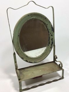 Vintage Antique Wall Mount Shave Vanity Mirror Mens Grooming Farmhouse Prop Art #Victorian 10X18 Victorian Picture Frames, Victorian Frame, Victorian Pictures, Wood Picture Frames, Picture On Wood, Vintage Pottery, Vintage Tea, Vintage Antiques, Antique Dry Sink