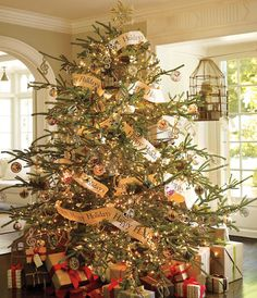 12 new trends christmas tree decorating 2011 by pottery barn gold scenic ball ornament christmas tree