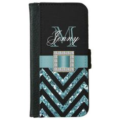 TURQUOISE BLACK CHEVRON GLITTER GIRLY iPhone 6/6S WALLET CASE