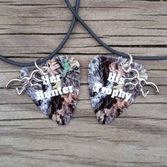 Her Hunter His Trophy deer silver charm Camo guitar pick matching couples necklaces country love girl guy buck Valentine's Anniversary Gift