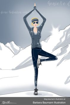 Fashion illustration of a fashionable woman in a relaxed yoga pose in sport shoes. She is standing in front of a winter scene - a snowy mountain background. The drawing is done digitally on the graphic tablet with a separate layer for the draft to define the human female body proportions step by step. An illustrative branding for a shoe manufacturer, sketched on the sketchbook first to find ideas with creative techniques and methods #drawing tips in my tutorials for figure sketching of men… Paul Green, Figure Sketching, Figure Drawing, Illustrator, Mountain Background, Body Proportions, Shoe Manufacturers, Illustration Mode, Winter Scenes