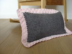 Belle, grey and pink throw pillow by et aussi