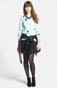 Caslon® Leather Moto Jacket, Halogen® Intarsia Sweater & Pleat Woven Skirt  available at #Nordstrom