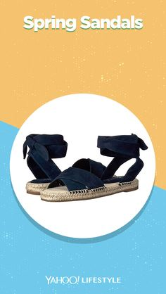 Shop it: $98, zappos.com Set the trend this season when you craft a look with the charming Splendid® Tereza espadrille sandal. Supple suede upper material. Wraparound ankle strap with ankle tie closure. #springshoes #sandals #opentoe #espadrilles #navyshoes #navysandals Navy Sandals, Spring Sandals, Navy Shoes, Spring Shoes, Summer Shoes, Espadrille Sandals, Espadrilles, Fourth Of July, Memorial Day