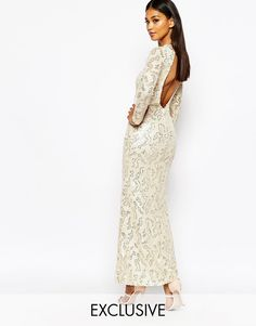 Club L Patterned Sequin Maxi Dress With Open Back - Cream