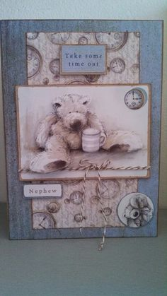 Jacob get well 2013 Men's Cards, Greeting Cards, Card Making Templates, Bear Card, Tatty Teddy, Birthday Cards For Men, Masculine Cards, I Card, Handmade Cards