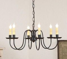 PRIMITIVE WROUGHT IRON CHANDELIER Handcrafted Six (6) Arm Candelabra Colonial Ceiling Light
