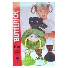 Amazon.com: Butterick 4149 or 216 Reversible Doll Pattern, Goldilocks and 3 Bears, Vintage: Butterick Pattern Service: Books