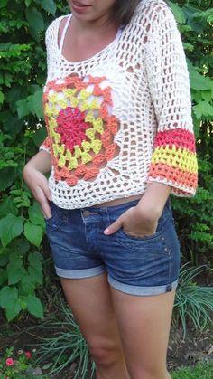 sweter de hilo tejido al crochet