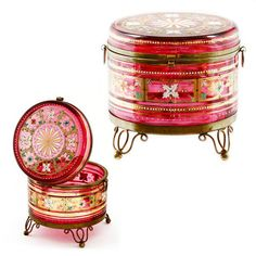 *MOSER ~ Antique Bohemian Cranberry, Enameled Art Glass Trinket Box, Hinged Lid Jar.