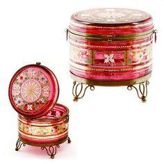 *MOSER ~ Antique Bohemian Cranberry, Enameled Art Glass Trinket Box, Hinged Lid Jar.