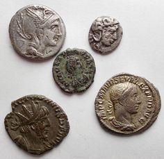 Roman Empire & Republic / Greek Antiquity - Lot of 5 AR/AE pieces.