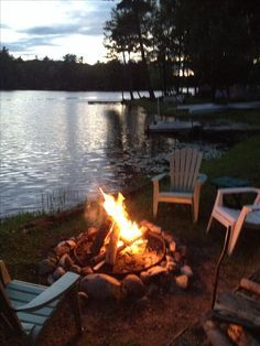 bonfire at the lake.