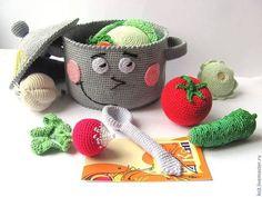 Shop & Kitchen - Set de cocina - a unique product by krupasova-danie . Fruits En Crochet, Crochet Food, Amigurumi Toys, Amigurumi Patterns, Crochet Patterns, Food Patterns, Crochet Animals, Yarn Crafts, Baby Toys