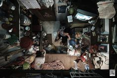 Crowded Overhead View of Tiny Hong Kong Apartments