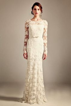 Long sleeves lace wedding dress- Temperley London