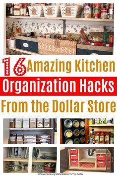 16 AMAZING Kitchen Organization Hacks from the Dollar Store. Tips tricks and inspiration to inexpensively organize YOUR ENTIRE KITCHEN.  The refrigerator, pantry, under the sink and kitchen cabinets.  I love that they are all budget friendly, simple and super functional!