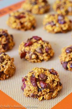 Healthier pumpkin chocolate chip oatmeal cookies with dried cranberries! Easy and quick! Recipe on sallysbakingaddiction.com