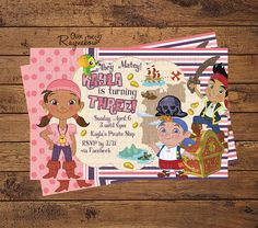 Jake and the Neverland Pirates Invitation (girl) Pirate Invitations, Custom Birthday Invitations, Neverland, All Design, Rsvp, Party Time, Pirates, Handmade Gifts, Birthday Ideas