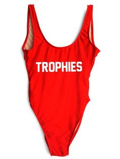 TROPHIES One-Piece Slogan Swimsuit