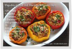Leckeres Paprika gefüllt mit Hackfleisch und Reis Rezept mit einfacher Schritt-für-Schritt-Anleitung: Reis kochen , Paprika waschen, Deckel am Stielende...