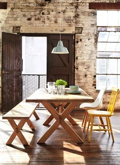 New kitchen table and chairs ideas mix match Ideas Dining Table With Bench, Wooden Dining Tables, Table And Chairs, Dining Chairs, Dining Room, Wooden Chairs, Room Chairs, Living Room Seating, Living Room Furniture