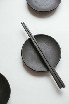 Black sushi set Plate and sticks Japanese sushi by Βelayahvoya