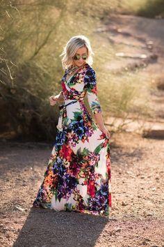 Floral Luxury Maxi Wrap Dress | 4 Sizes! More