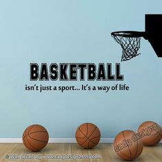 Basketball Wall Decal with Hoop- Sports Room Decor - Boys Vinyl Wall Decal Quote - NBA Sports Vinyl Wall Lettering - Softball, Volleyball, Sport Basketball, Basketball Is Life, Baseball, Basketball Practice, Women's Lacrosse, Women's Basketball, Basketball Scoreboard