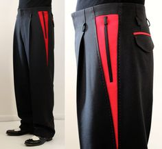 Pistol pants Two tone Black/Red by OceanfrontBoutique on Etsy