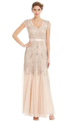Adrianna Papell Beaded Flounce Gown