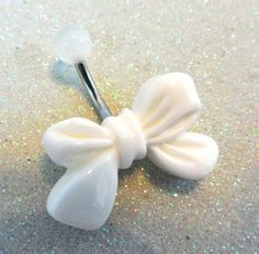 Belly button ring with white bow, white bow belly piercing ring 14ga