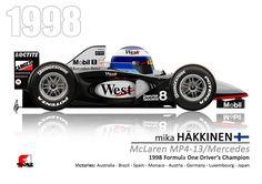 Mika Häkkinen in the 1998 McLaren MP4-13/Mercedes