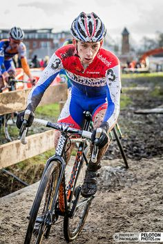 Lars VAN DER HAAR (NED) leading at the 2014 Centrumcross, Surhuisterveen, The Netherlands