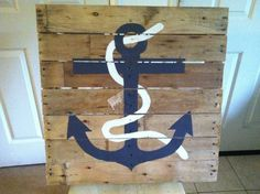 Hand Painted Anchor and Rope on Wooden Pallet on Etsy, $150.00