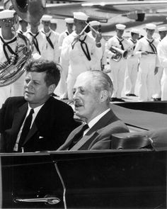 President John F. Kennedy with Britain's Prime Minister Harold McMillan at the Naval Station in Key West.