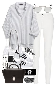 """""""Outfit with a striped shirt and superstars"""" by ferned on Polyvore featuring Proenza Schouler, Violeta by Mango, Hanky Panky, Simply Vera, NARS Cosmetics, Prada, adidas, Casetify, Forever 21 and women's clothing"""